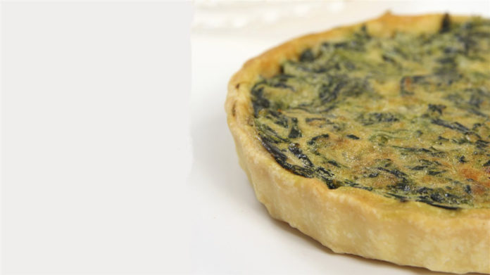 Spinach Quiche with Turkey Bacon & Goat Cheese